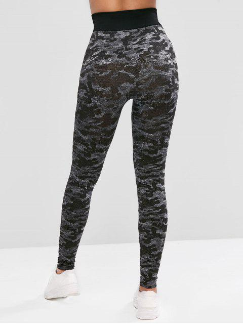 Camouflage Hohe Taille Sport Leggings - Schwarz XL Mobile