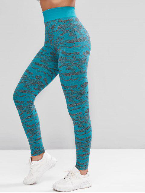 Camouflage Hohe Taille Sport Leggings - Helles Blau L Mobile