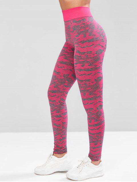 Camouflage Hohe Taille Sport Leggings - Helles Rosa XL Mobile