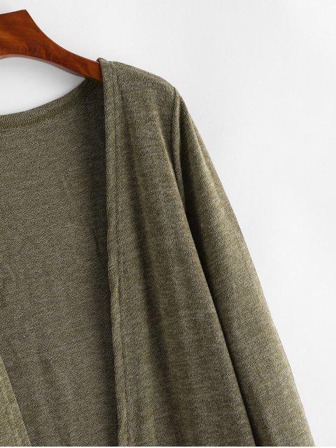 Dual Taschen Meliertes Offener  Strickjacke - Braun Eine Größe Mobile