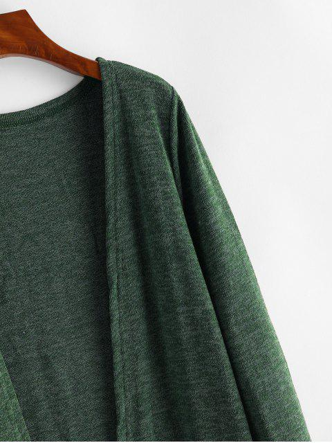 Dual Taschen Meliertes Offener  Strickjacke - Armeegrün Eine Größe Mobile