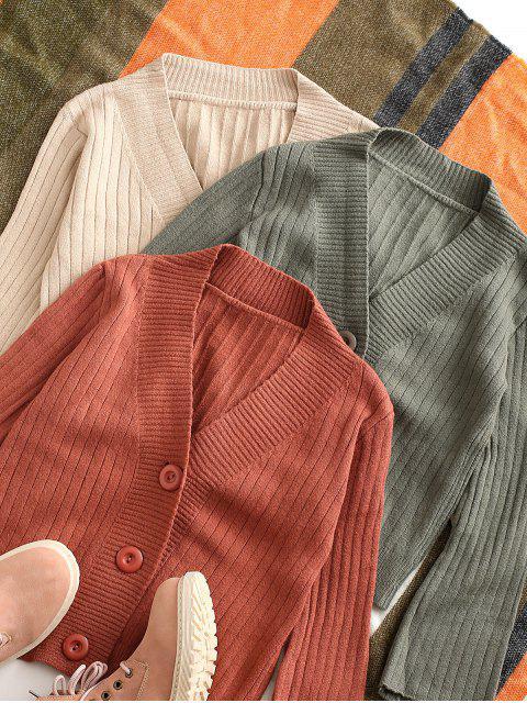 Einfarbige Knopf Strickjacke mit V-Ausschnitt - Kastanie Eine Größe Mobile