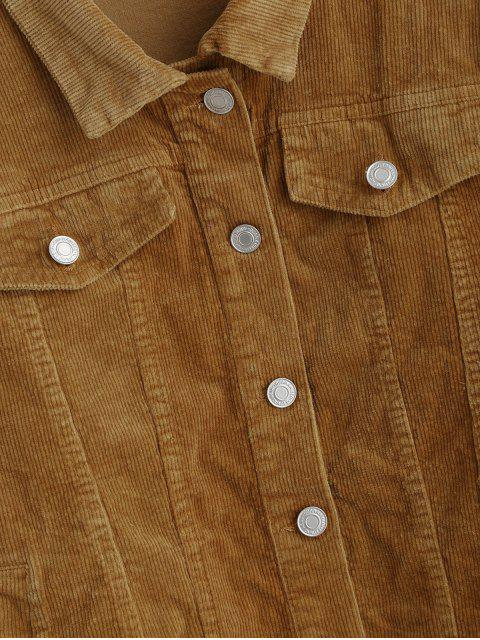 womens Faux Flap Pockets Button Up Corduroy Jacket - LIGHT BROWN S Mobile