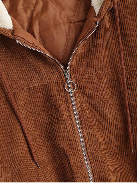 Vorhangschnur Reißverschluss Vordertasche Kapuze Cordjacke - Braun L Mobile