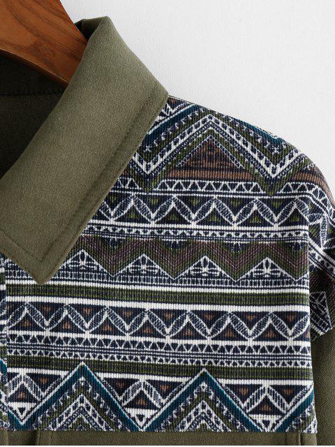 ZAFUL Veste Aztèque Imprimé à Goutte Epaule avec Poche - Vert Camouflage L Mobile