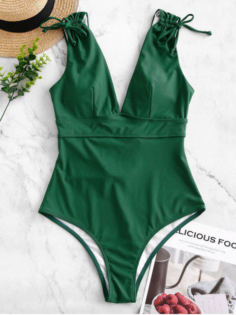 ZAFUL切入收緊系帶露背連體泳衣 - 松樹綠色 L Mobile