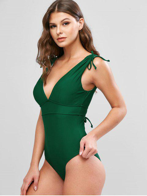 fancy ZAFUL Plunge Cinched Lace Up Backless One-piece Swimsuit - PINE GREEN S Mobile
