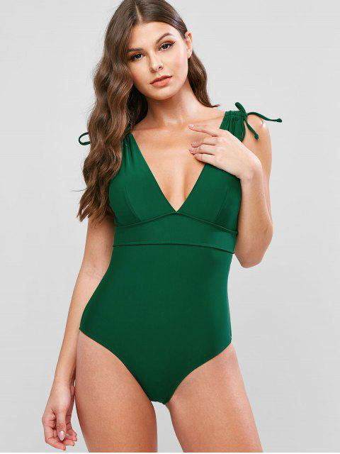 shop ZAFUL Plunge Cinched Lace Up Backless One-piece Swimsuit - PINE GREEN XL Mobile