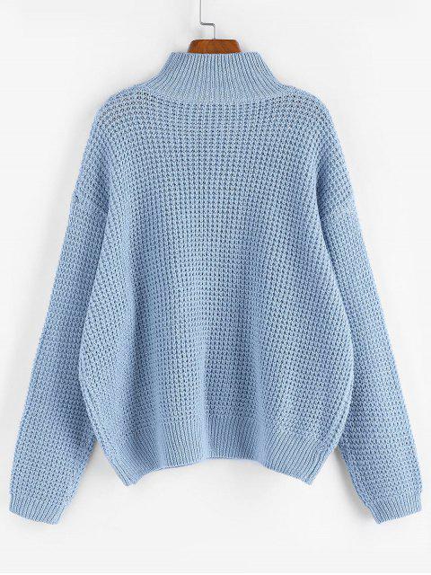 ZAFUL Tropfen Schulter Einfacher Stehkragen Pullover - Korallenblau M Mobile