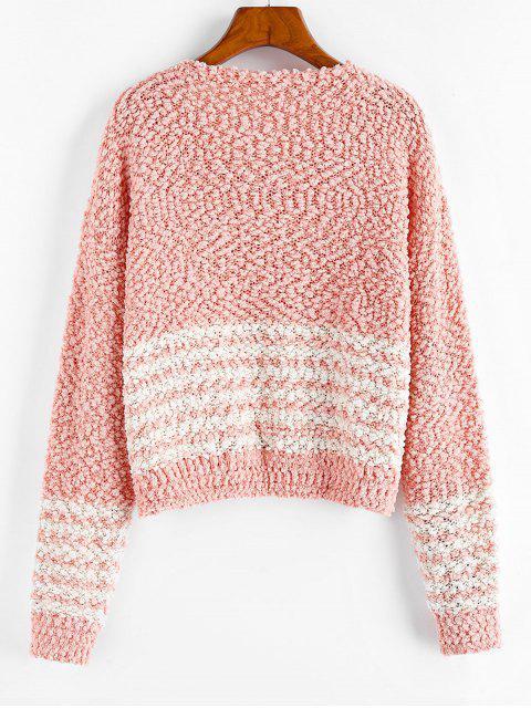 ZAFUL Popcorn Knit Gestreifte Tropfen Schulter Sweater - Dunkler Pfirsich L Mobile