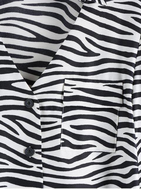 ZAFUL Zebradruck V Gekerbte Pocket Shirt - Multi-A S Mobile