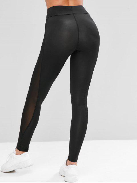 lady Mesh Panel See Thru Stretchy Gym Leggings - BLACK L Mobile