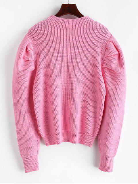 Gigot-Hülse Stehkragen Pullover - Rosa Eine Größe Mobile