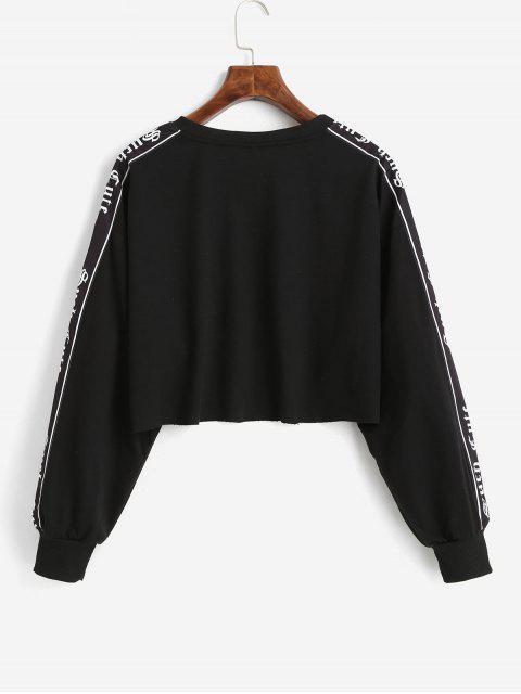 Crop sportliches Elastische Zwei Töne Vorhangschnur Grafik Raw Saum Sweatshirt - Schwarz M Mobile