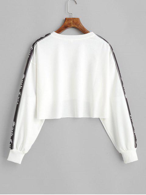 Verkürztes Spliced cm / Sesshaft Grafik Roh Saum Sweatshirt - Weiß M Mobile