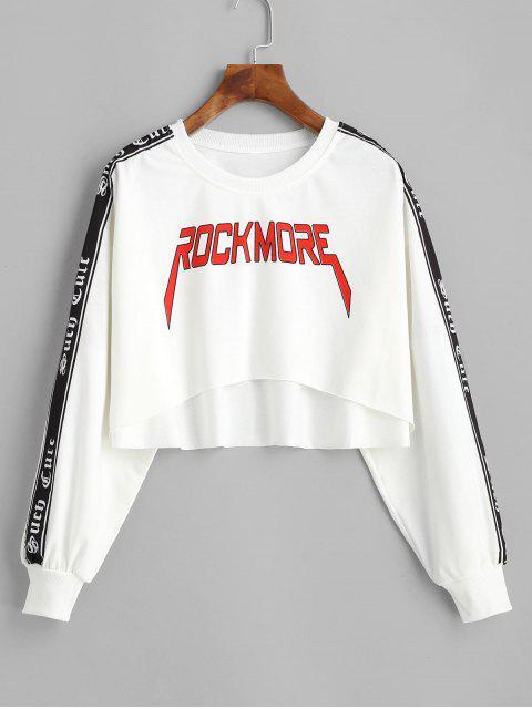 Crop sportliches Elastische Zwei Töne Vorhangschnur Grafik Raw Saum Sweatshirt - Weiß L Mobile