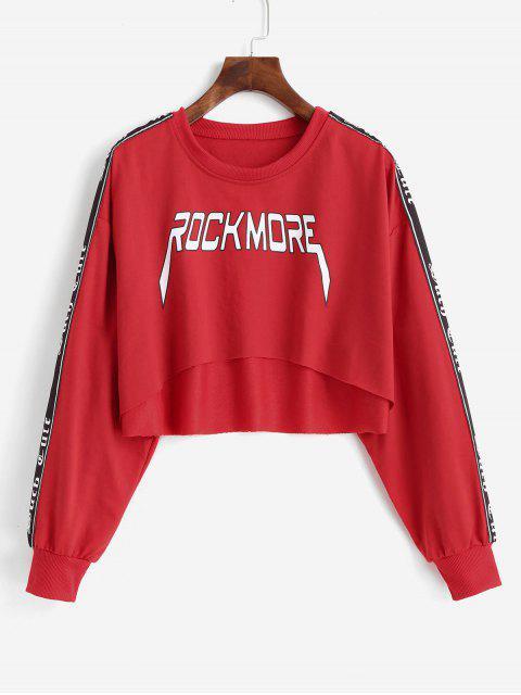 Crop sportliches Elastische Zwei Töne Vorhangschnur Grafik Raw Saum Sweatshirt - Rot S Mobile
