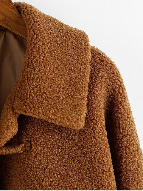 ZAFUL Tasche Künstliche Shearling Fallschulter Streifen Mantel - Dunkle Goldrute L Mobile