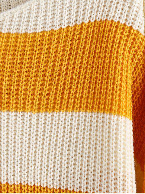 ZAFUL Zweifarbiger Schulter Pullover - Biene Gelb Eine Größe Mobile