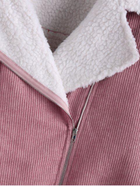 ZAFUL Corduroy Tropfen Schulter geneigte Zipper-Jacke - Rosa Rose L Mobile