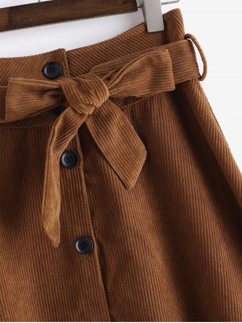 best Button Up Belted Corduroy Flare Skirt - BROWN S Mobile