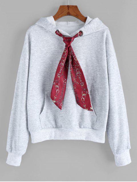 ZAFUL سلسلة طباعة ربطة العنق قطرة الكتف الجبهة هوديي الجيب - اللون الرمادي XL Mobile