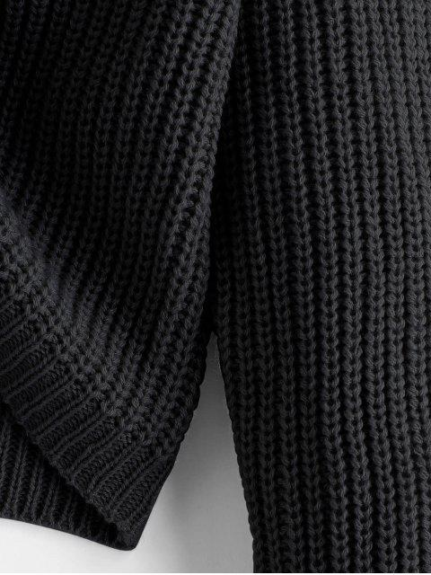 womens ZAFUL V Neck Shirred Ribbed High Low Sweater - BLACK M Mobile