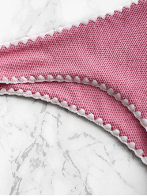 ZAFUL鞭針羅紋低低腰比基尼底部 - 亮粉色 L Mobile