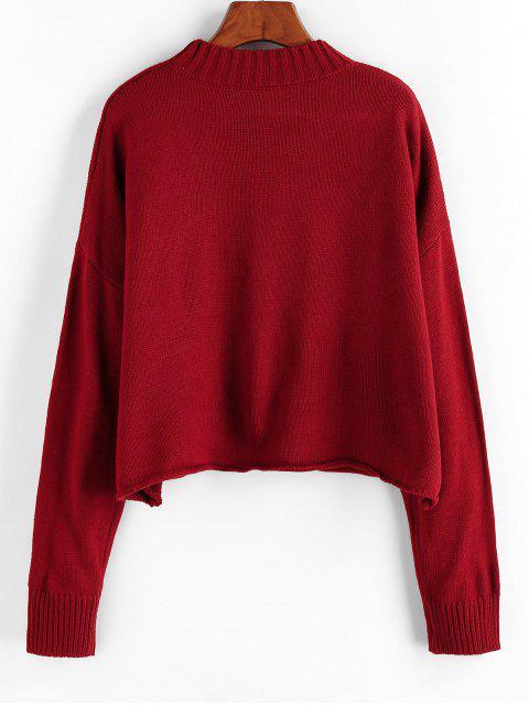 ZAFUL Fallschulter Pullover mit Gerolltem Saum - Roter Wein Eine Größe Mobile