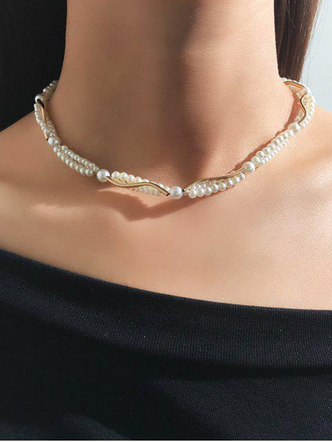 ОжерельеНаключицеСискусственнымжемчугом Из сплава - Белый  Mobile