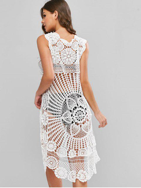 trendy Crochet High Low Cover-up Top - WHITE ONE SIZE Mobile