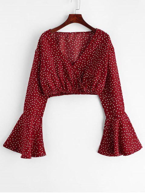 womens Flare Sleeve Dotted Cropped Blouse - RED M Mobile