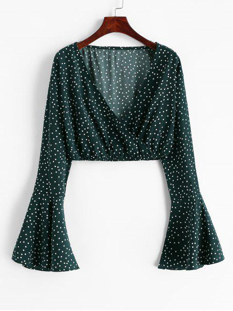 buy Flare Sleeve Dotted Cropped Blouse - MEDIUM SEA GREEN XL Mobile