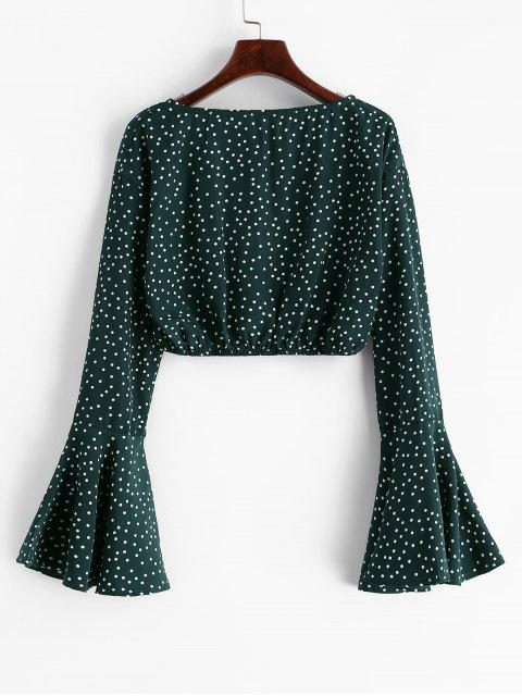 lady Flare Sleeve Dotted Cropped Blouse - MEDIUM SEA GREEN S Mobile