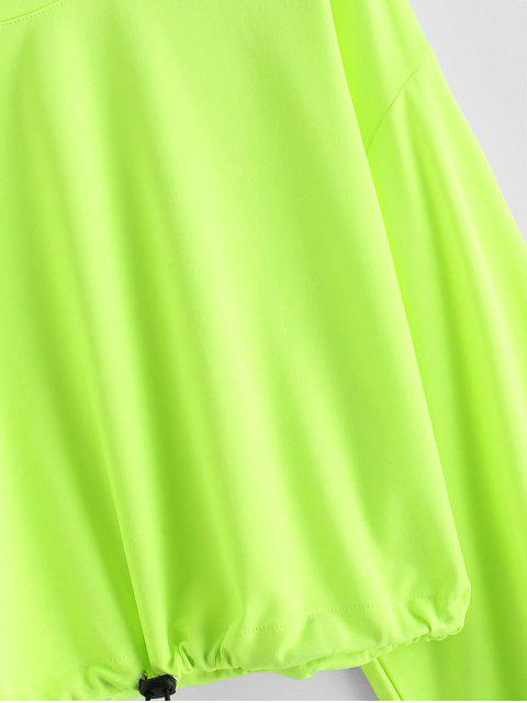 Sudadera Corta con Cordón Combinado - Verde Amarillo L Mobile
