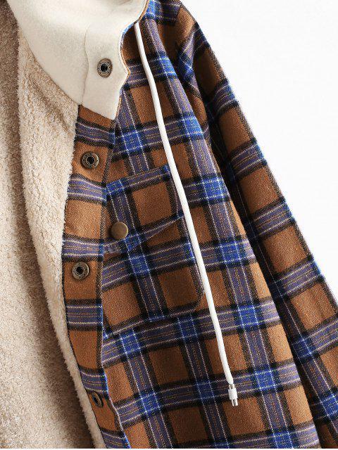 fashion Plaid Chest Pocket Fleece Drawstring Hooded Jacket - CAMEL BROWN L Mobile