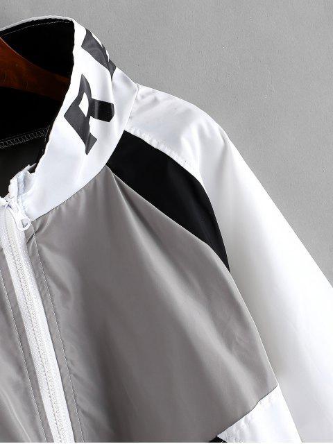 fancy Zip Front Snake Leopard Colorblock Windbreaker Jacket - WHITE M Mobile