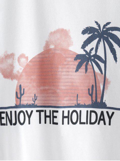 unique ZAFUL Letter Coconut Palm Drop Shoulder Loose T-shirt - WHITE L Mobile