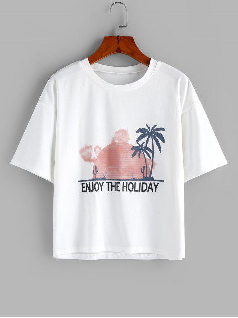 shop ZAFUL Letter Coconut Palm Drop Shoulder Loose T-shirt - WHITE S Mobile