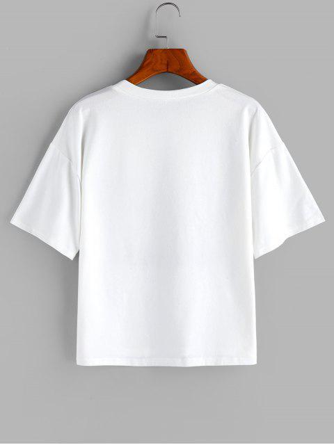 ZAFUL T-shirt Lâche Lettre Palmier et Cocotier à Goutte Epaule - Blanc XL Mobile