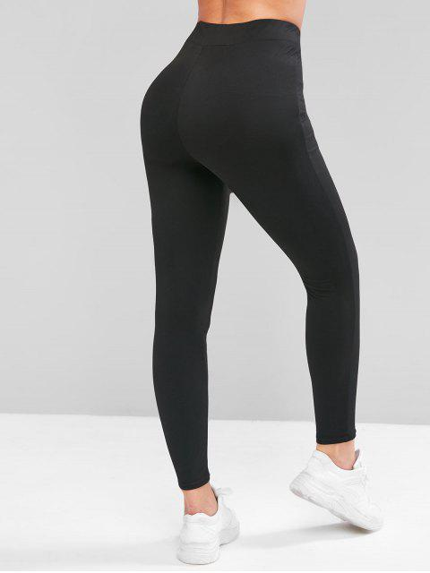 ZAFUL Leggings de Cintura Alta de Color Sólido - Negro L Mobile