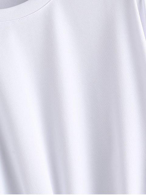 Sudadera Corta con Cordón Combinado - Blanco M Mobile