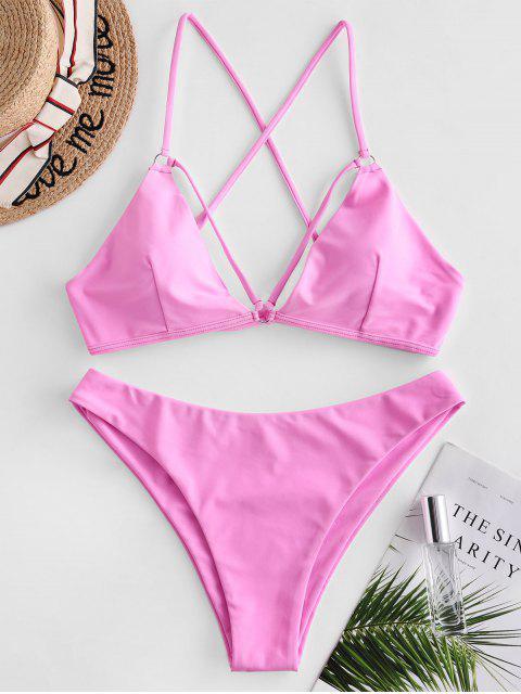 ZAFUL Biquíni de Tiras Cruzadas com Tiras Texturizadas - Luz rosa S Mobile