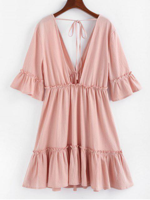 shop ZAFUL Bell Sleeve Ruffle Plunging Dress - ROSE M Mobile