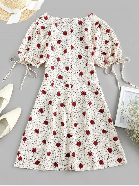 ZAFUL Robe Fendue PlongeanteNouéeFleurie Imprimée à Revers - Beige XL Mobile