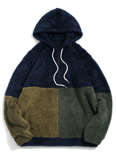 womens ZAFUL Color-blocking Splicing Half Zipper Fuzzy Hoodie - CADETBLUE L Mobile