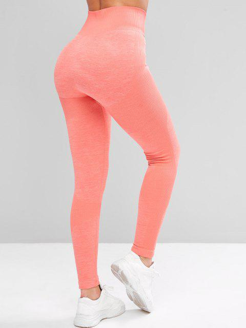 women's Heather Rib Knit High Waisted Skinny Leggings - PINK S Mobile