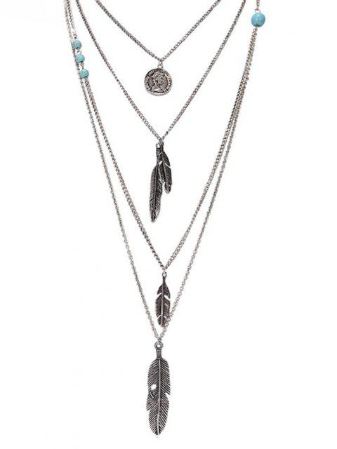 fashion Artificial Turquoise Feather Layered Pendant Necklace - SILVER  Mobile