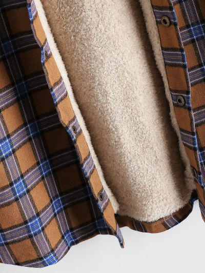 Plaid Chest Pocket Fleece Drawstring Hooded Jacket, Camel brown