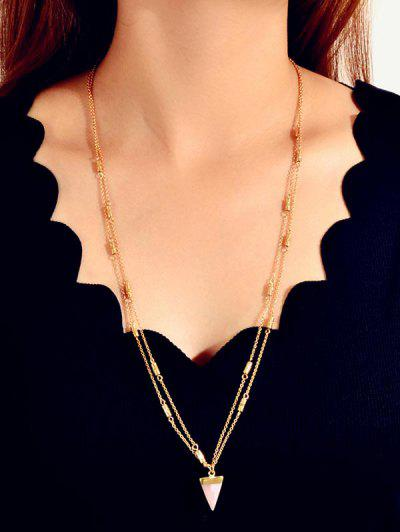 Triangle Pendant Sweater Necklace - Gold